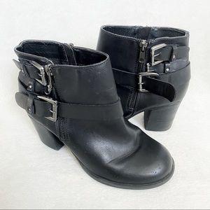 Torrid black short heel boots with buckles size 9